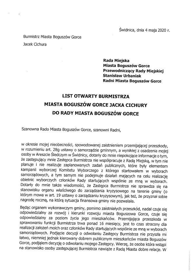 REGION, Boguszów-Gorce: List otwarty burmistrza