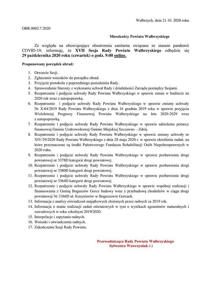 powiat wałbrzyski: Sesja online