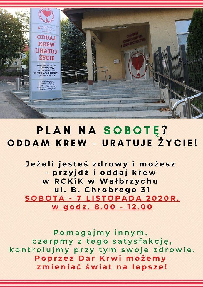 Wałbrzych/REGION: Oddaj krew w sobotę