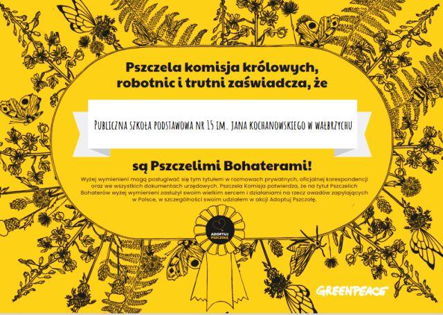 Wałbrzych: Szkoła adoptowała pszczołę