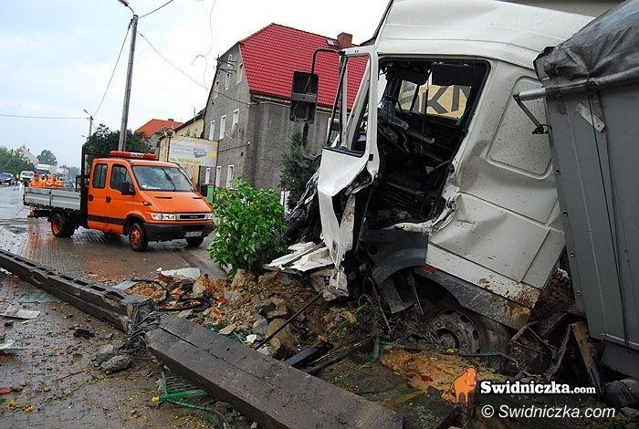 Słotwina/Świdnica: Kierowca tira dostał zarzut nieumyślnego spowodowania wypadku drogowego