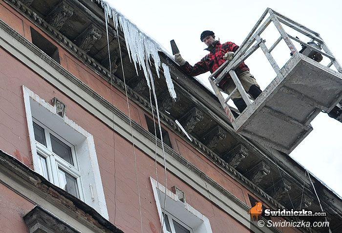 Świdnica: Nierówna walka ze śniegiem i soplami – jutro znów będzie sypać