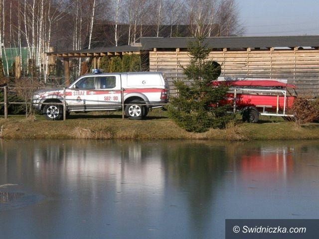 Dobromierz/Świebodzice: Ratowali poszkodowanego z wody skutej lodem