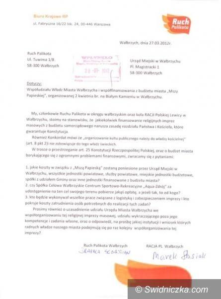 Wałbrzych: Ruch Palikota przeciwko finansowaniu przez samorząd Mszy Papieskiej