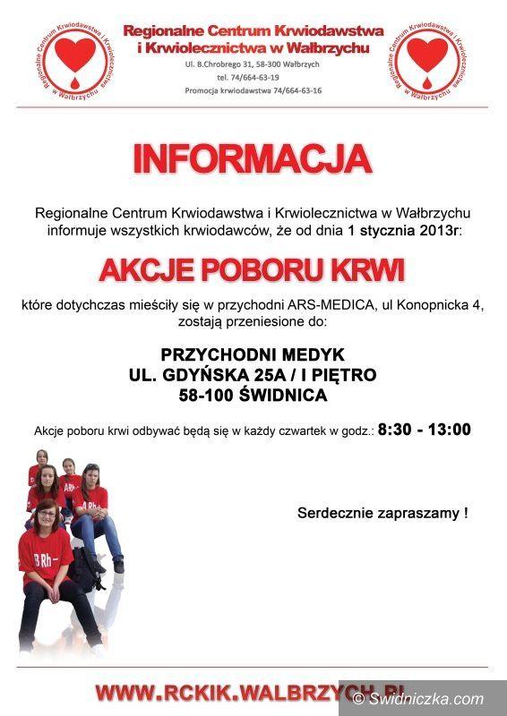 Świdnica: Ważna informacja dla krwiodawców