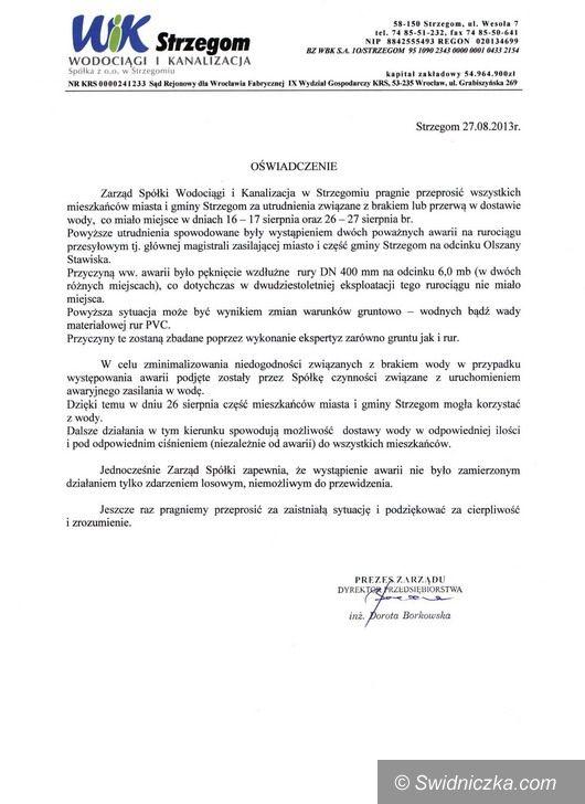 Gmina Strzegom: Brak wody – oświadczenia burmistrza Strzegomia i prezes spółki WIK