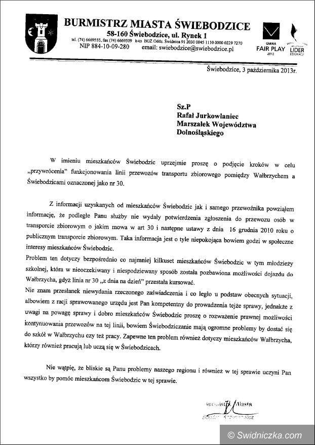 Świebodzice: Stanowisko burmistrza Świebodzic w sprawie wstrzymania linii nr 30