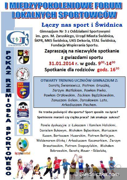 Świdnica: Gimnazjum nr 3 w   Swidnicy zaprasza na I Międzypokoleniowe Forum Lokalnych Sportowców