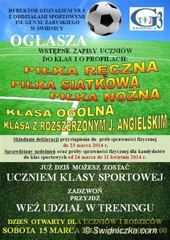 Świdnica: Gimnazjum nr 3 z oddziałami sportowymi zaprasza na Dzień Otwarty