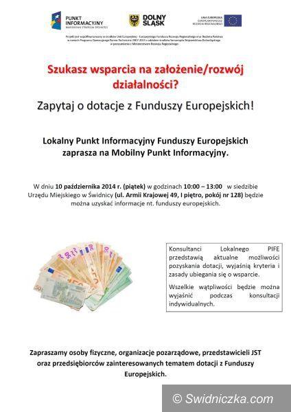 Świdnica: Mobilny punkt informacyjny o funduszach UE w Świdnicy