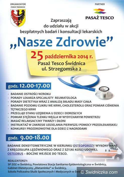Świdnica: Kolejne badania dla mieszkańców powiatu świdnickiego