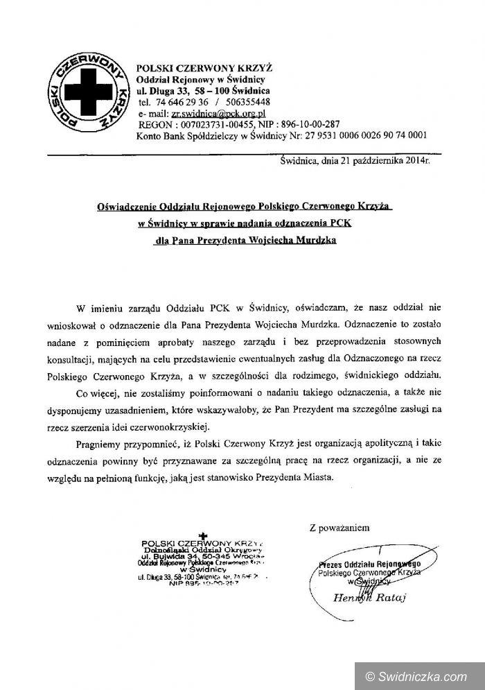 Świdnica: Oddział PCK w Świdnicy komentuje wyróżnienie prezydenta Murdzka