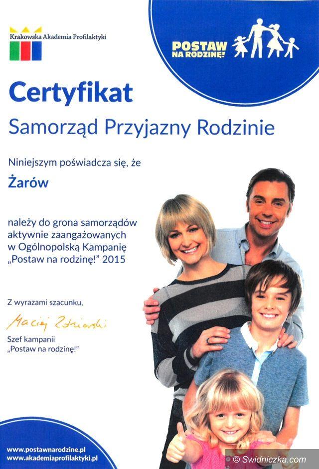 """Żarów: Gmina Żarów """"Samorządem przyjaznym Rodzinie"""""""