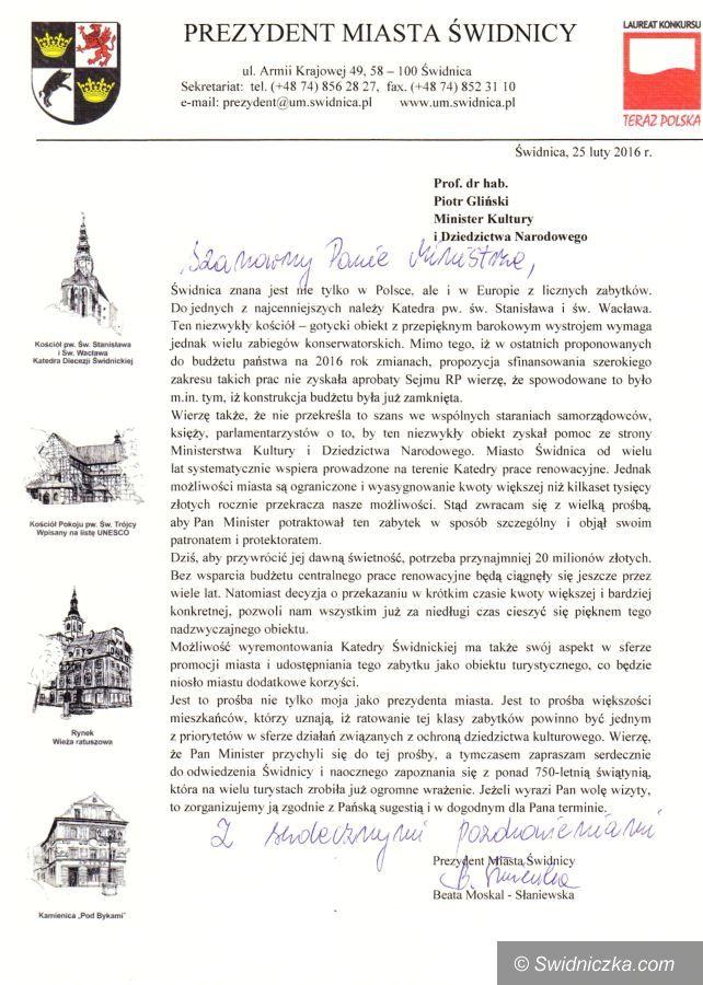 Świdnica: List Prezydent Miasta Świdnicy do Ministra Kultury i Dziedzictwa Narodowego