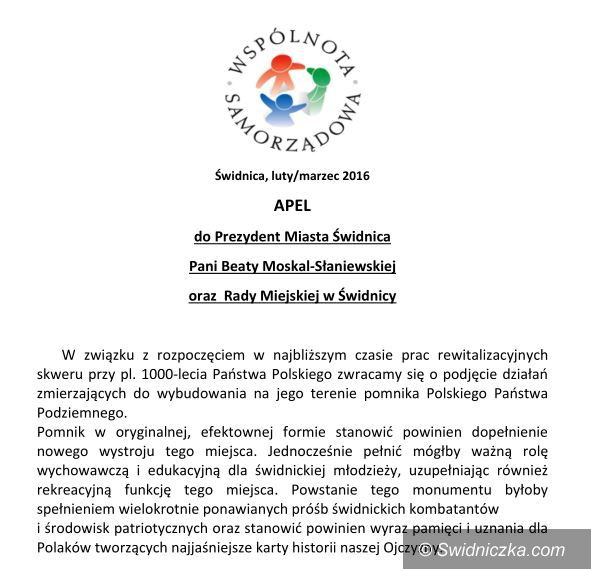 Świdnica: Apel do władz miasta