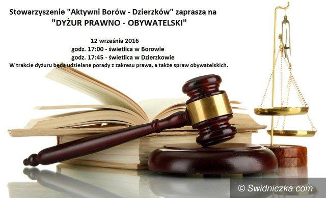 Borów/Dzierzków: Dyżur Prawno–Obywatelski w gminie Dobromierz