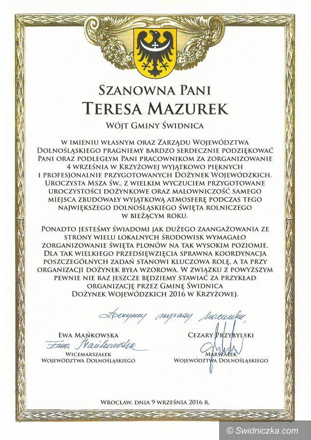 Gmina Świdnica: Gratulacje i podziękowania dla Gminy Świdnica