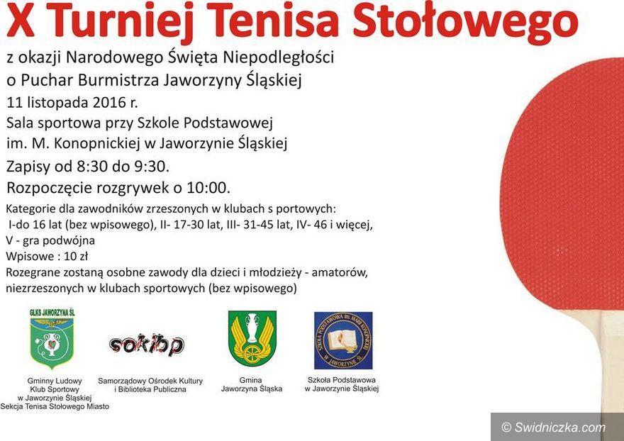 Jaworzyna Śląska: X Turniej Tenisa Stołowego z okazji Narodowego Święta Niepodległości