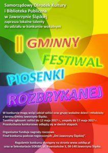 Jaworzyna Śląska: Zapraszamy do udziału w Gminnym Festiwalu Piosenki Rozbrykanej