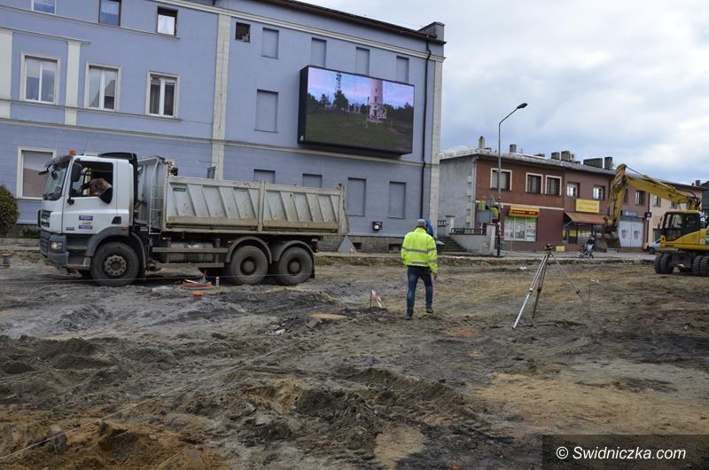 Żarów: Trwają prace przy budowie ronda w centrum Żarowa