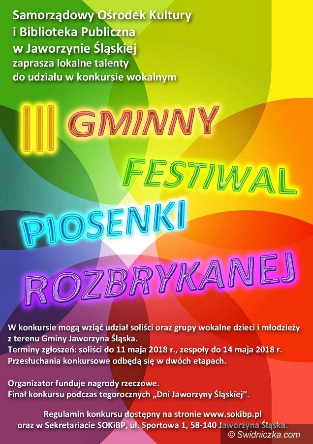 Jaworzyna Śląska: Zapraszamy do udziału w Gminnym Festiwalu Piosenki Rozbrykanej w Jaworzynie Śląskiej
