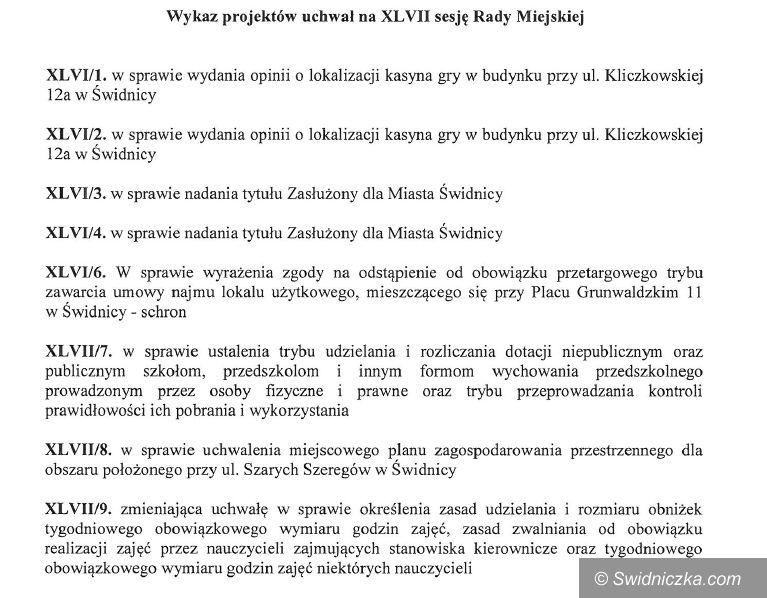 Świdnica: Przed nami sesja Rady Miejskiej w Świdnicy