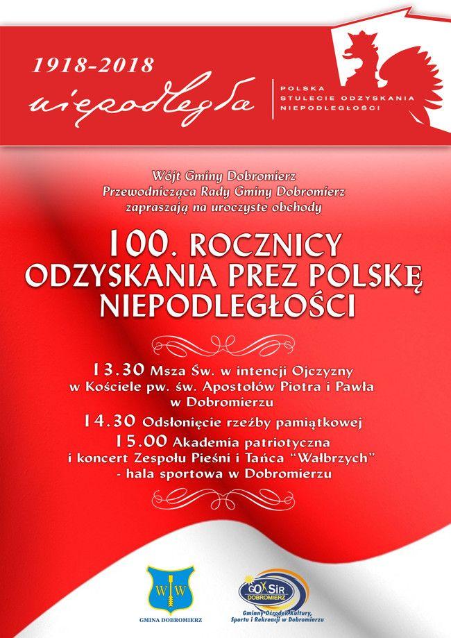 Gmina Dobromierz: 100. rocznica odzyskania przez Polskę niepodległości w gminie Dobromierz