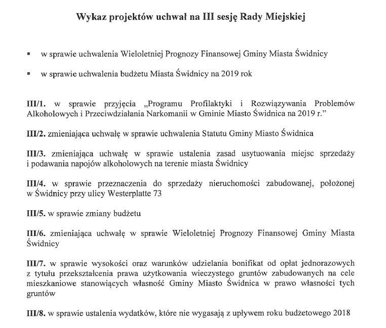 Świdnica: Zapraszamy na III sesję Rady Miejskiej w Świdnicy