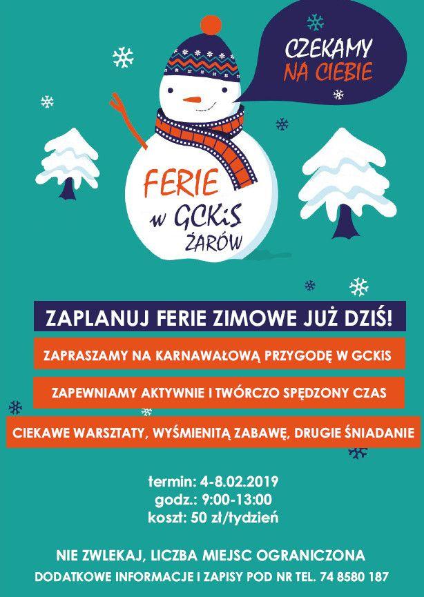 Żarów: Ferie z Gminnym Centrum Kultury i Sportu w Żarowie
