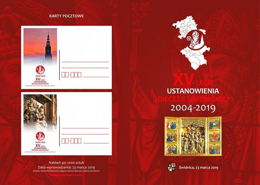 Świdnica: Okolicznościowe karty i znaczki pocztowe na XV–lecie Diecezji Świdnickiej