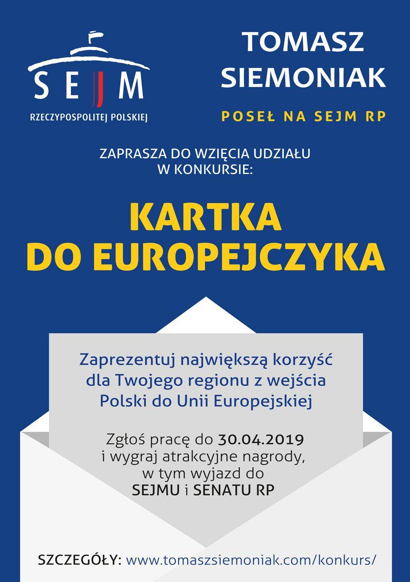 """REGION: Weź udział w poselskim konkursie """"Karta do Europejczyka"""""""