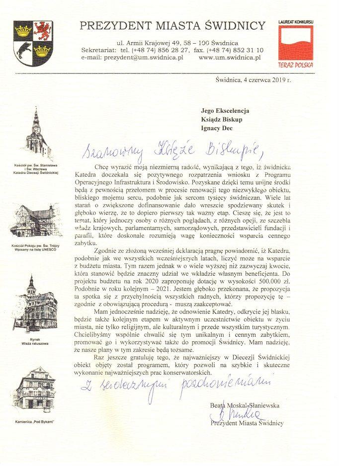 Świdnica: Prezydent Świdnicy chce wspomóc remont Katedry