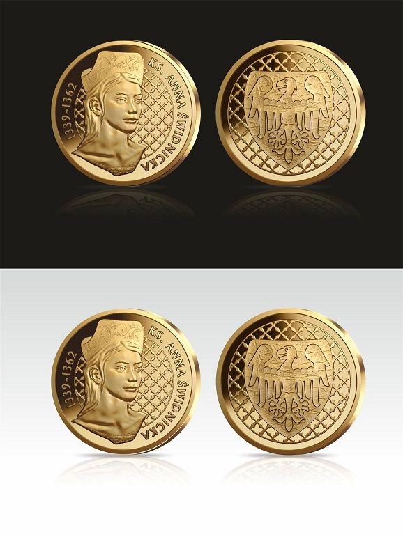 Świdnica: Anna Świdnicka na złoconej monecie