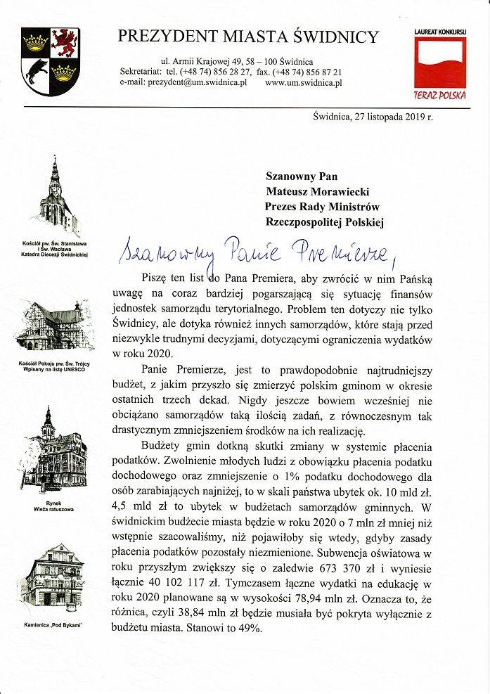Świdnica: List do premiera