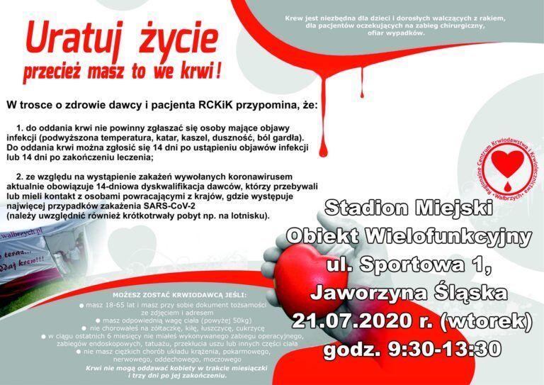 Jaworzyna Śląska: Zbierają krew