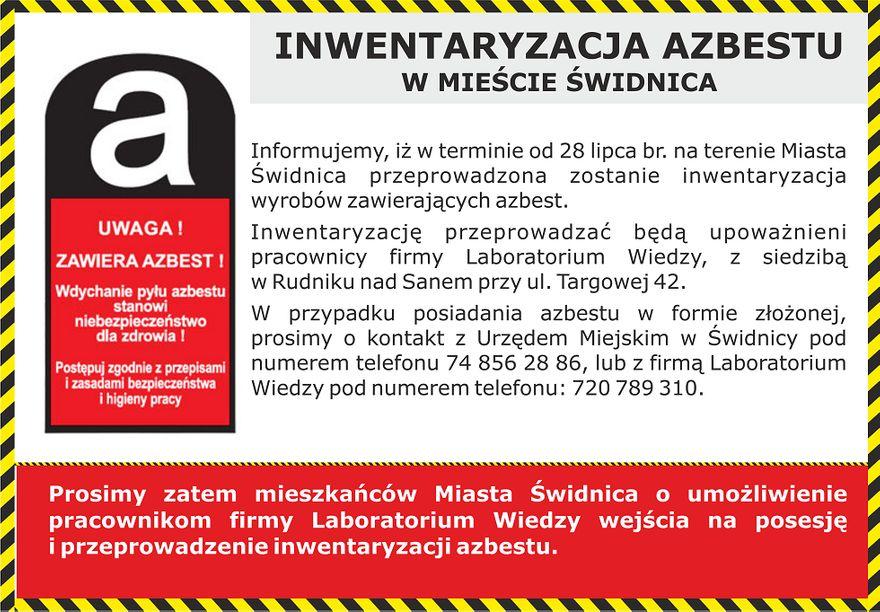 Świdnica: Inwentaryzacja azbestu